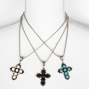 Gemstone cross in turquoise and silvertone